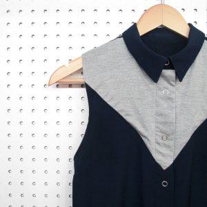 Chemise sans manches pour femme, fait au Québec, bleu et grise, confortable, étoffe légère , vêtements québécois Marilou design