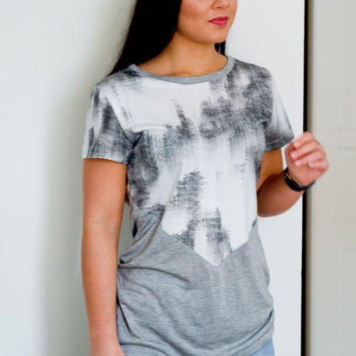 Tshirt gris à motif pour femme par la marque Marilou design