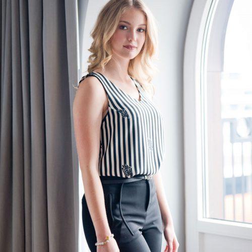 Camisole noire et blanche Fait au Canada Marilou design