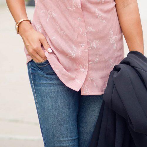 chemise sans manche pour femme couleur rose à motif fait au quebec par Marilou design