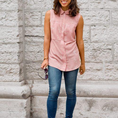 Chemise pour femme parfaite pour le travail, sans manche, fait au Canada par Marilou design