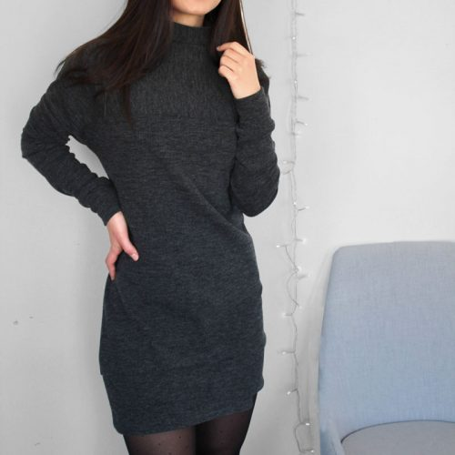 grey-dress-chic-comfy-robe-chandail-noire-clothes-vetement-pour-femmes-made-in-quebec-marilou-design