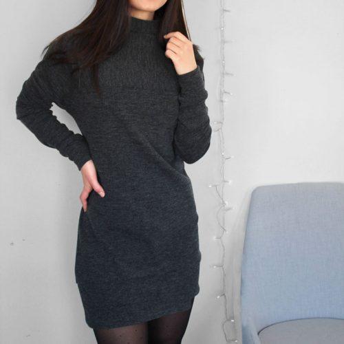 grey-dress-chic-comfy-robe-chandail-noire-clothes-vetement-pour-femmes-made-in-quebec-marilou-design