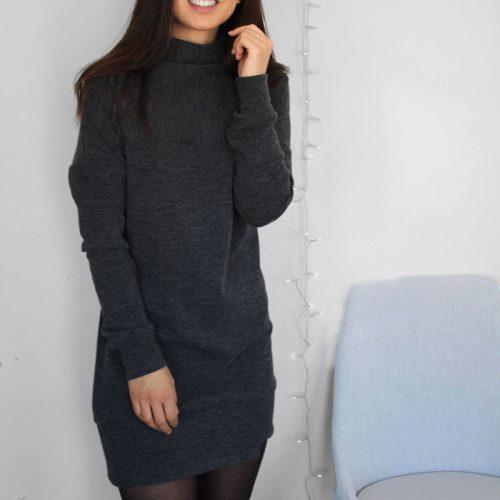 grey-dress-chic-comfy-robe-chandail-noire-vetement-pour-femmes-made-in-quebec-marilou-design