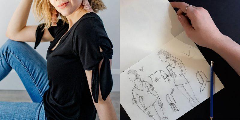 creation-look-details-sleeves-bow-black-tshirt-comfy-corpo-clothes-for-woman-vetements-pour-femmes-fait-au-canada-marilou-design