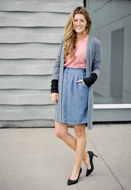 skirt-with-pocket-blue-jupe-avec-poches-look-chic-with-cardigan-made-in-quebec-marilou-design