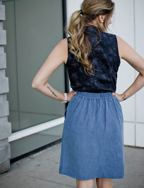 skirt-with-pocket-blue-jupe-avec-poches-look-chic-with-shirt-made-in-quebec-marilou-design