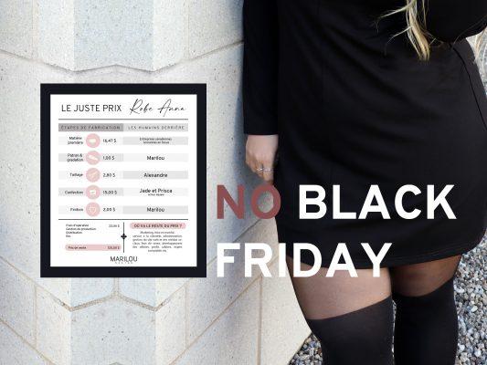 no black friday-entreprise-quebecois-anti-black-friday-compagnie-de-quebec-marilou-design-styliste-slow-fashion-qualite-vetement-fait-au-quebec