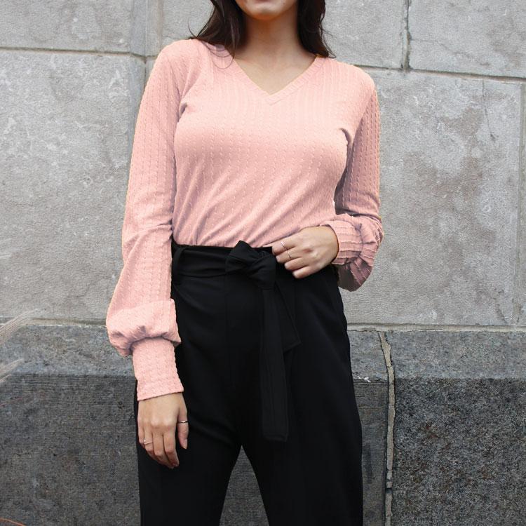 chandail-pink-tunique-manches-plis-tricot-femme-vetement-fait-au-quebec-marilou-design