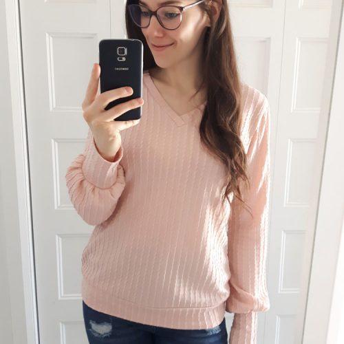 chandail-rose-pink-sweater-tunique-tricot-texture-femme-vetement-fait-au-quebec-marilou-design
